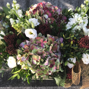 centro de flores de Hortensias
